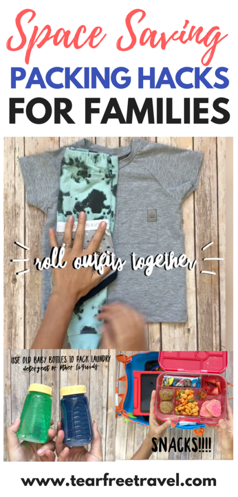 Space saving packing hacks! Pack smart for your next family vacation. All the best packing hacks for traveling with kids! I've got all the tips and tricks for packing with kids. I include a rundown of packing a carryon for kids and space saving packing hacks for the full size suitcase. All of the best luggage organizers are reviewed! #packinghacks #packing
