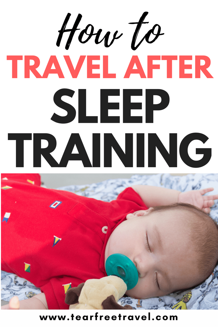 If you've recently gone through the stress of sleep training your baby or toddler, the last thing you want is to mess it up while away! Here are my tips for travel after sleep training. I have tips that will help with sleep training baby and sleep training toddler. I will go though my travel sleep training tricks. This is how I kept my sleep trained baby and sleep trained toddler sleeping well on vacation. Pin this for your next vacation with your little ones! #sleeptraining #sleep #babysleep