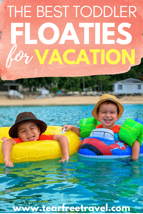 Looking for the best toddler floaties? Check out my list of the best toddler flotation devices and baby pool floats that give kids confidence to swim in the water. You won\'t want to leave for vacation without these! #toddlerlifejacket #toddlerfloatie #toddlerfloat #poolfloat #poolfloatie #vacation #vacationwithkids #kidstravel #toddlerswimvest #toddlerswim #babyswim #babylifejacket #infantlifejacket