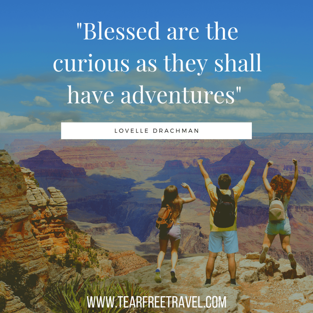 Blessed are the curious as they shall have adventures | Adventure family travel quotes