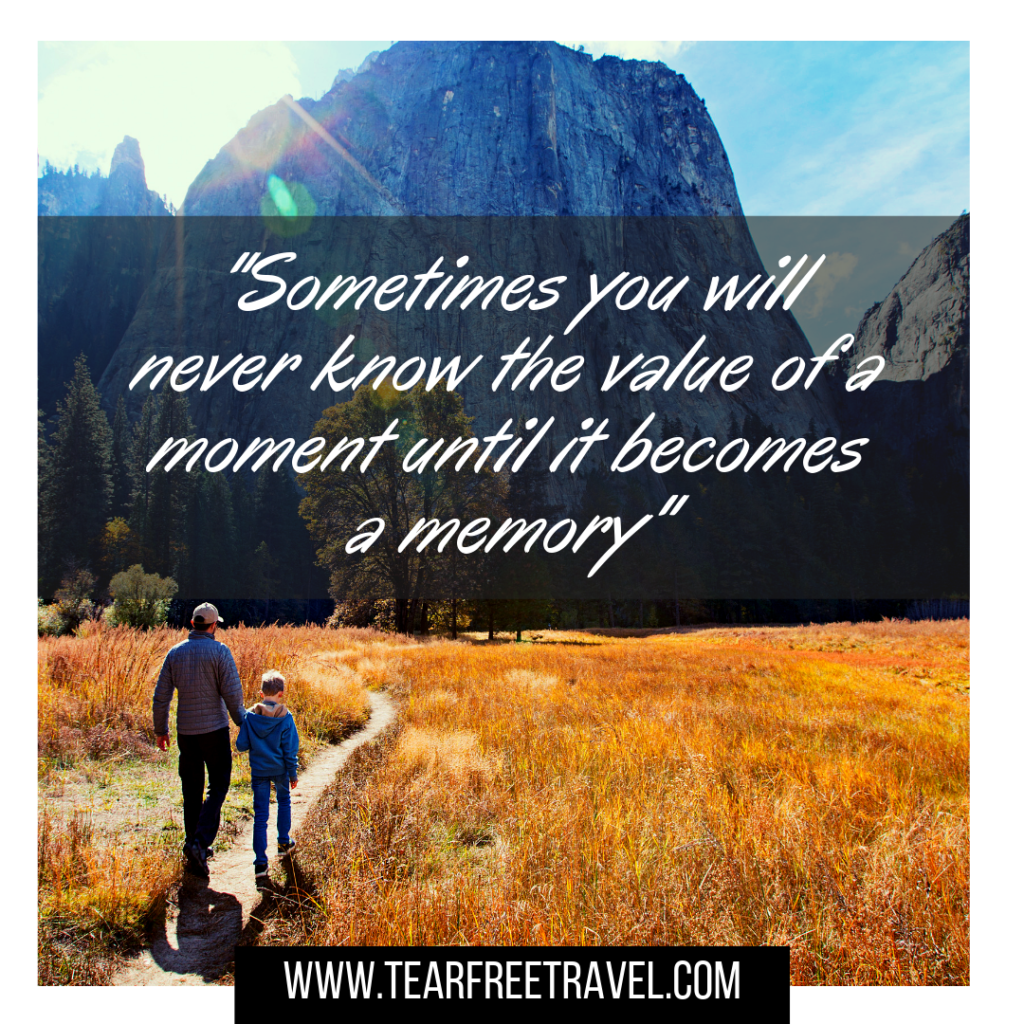 Sometimes you will never know the value of a moment until it becomes a memory | Family traveling quotes