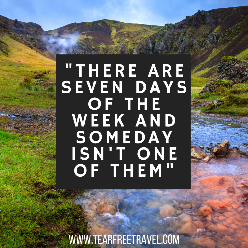 There are seven days of the week and someday isn't one of them | Travel quotes for friends